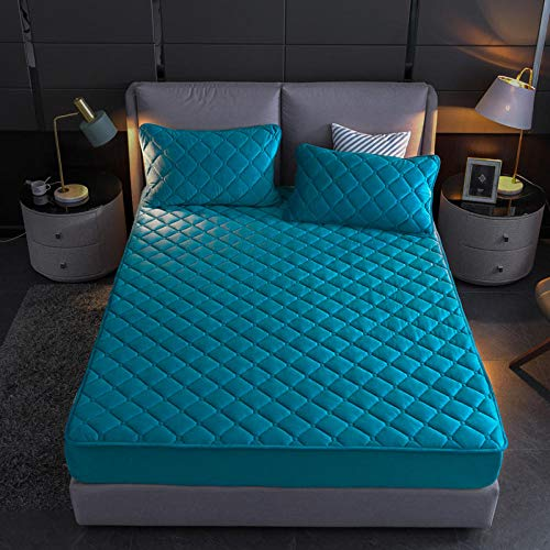 N / A girls sheets,Crystal fleece fitted sheets, warm bedspreads, single double king size mattress covers-Lake_blue_150cm*200cm+35cm