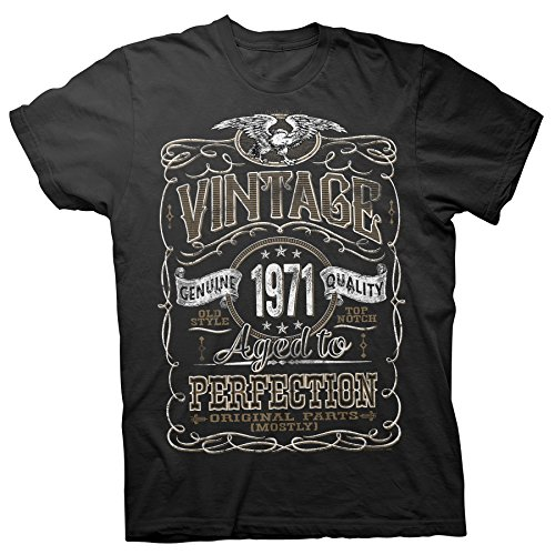 ShirtInvaders 50th Birthday Shirt for Men - Vintage 1971 Aged to Perfection - Black-001-XL