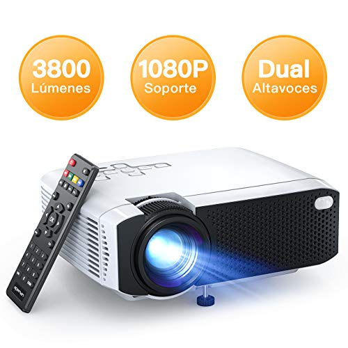 APEMAN - Mini proiettore Portatile per Cinema in casa, 3800 Lumen, Due Altoparlanti integrati, 50000 Ore, Supporto HD 1080P HDMI/USB/VGA/AV/Micro SD (Include Cavo HDMI/AV/Alimentazione)