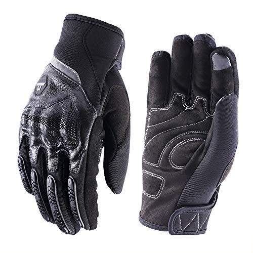 Guantes de Pantalla Táctil para Moto, Guantes Motocicleta Vintage de Sport Motocross,Guantes de Moto Verano Transpirable para Hombre Mujer(Negro,XL)