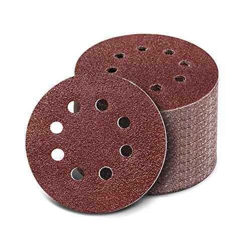 125mm Schleifscheiben, 100 Stück Klett Schleifpapier Set für Exzenterschleifer, 8 Löcher Schleifblätter für Holz Holzwerkstoffe Spanplatte(40/60/80/100/120/180/240/320/400/800 Körnung)