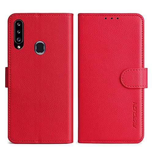 FMPCUON Handyhülle Kompatibel mit Samsung Galaxy A20S Hülle Leder PU Leder Tasche,Flip Hülle Lederhülle Handyhülle Etui Handytasche Schutzhülle für Galaxy A20S,Rot