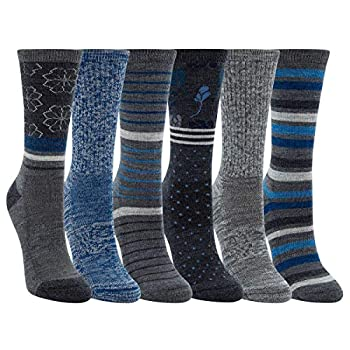 Kirkland Signature Womens 6 Pack Extra Fine Merino Wool Trail Socks  Grey/Blue