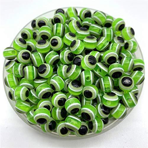 Perlas de cristal esmaltadas de 6 mm, 8 mm, 10 mm, redondas, cuentas espaciadoras para hacer joyas, pulseras y collares (color: verde, tamaño: 6 mm (50 piezas)