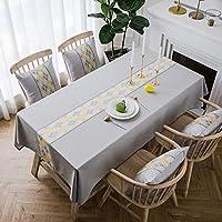 長方形のテーブルクロスウォッシャブルコットンリネンシワフリー 結婚式、宴会、または結婚式、レストラン、または宴会用のレストラン用の長方形のポリエステルテーブルクロス、2色 キッチンダイニング卓上装飾用 (Color : Gray, Size : 135*100cm)