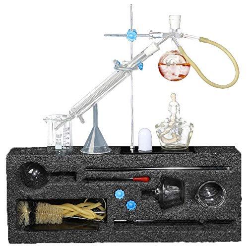 TTSUAI Labor Ätherisches Öl Destillationsgerät Wasserfilter Destille Glaswaren Kits W/Werkzeug Fall Kondensator Rohr