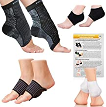 Fittest Pro Foot Sleeve, Plantar Fasciitis Heel Protectors, Arch Support Therapy Wrap, Cushioned Heel Support - Ankle Foot Pain Relief Sock Bundle (Pack of 8) (Small/Medium)