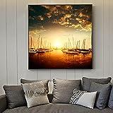 Sonnenuntergang Wandkunst Leinwand Realismus modernes Boot