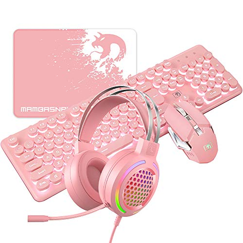 Rechargeable Gaming Keyboard Mouse Wired RGB Headset Combo White Light 104 Keys Gamer Pink Keyboard 2400DPI Adjust Game Mice Gaming 7.1 Surround SoundStereo Headphone for Laptop Computer Mac