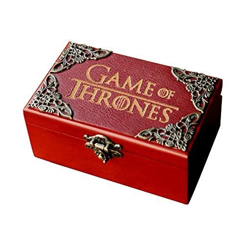 SIQI Joyero de madera con diseño de Game of Thrones con 18 notas, diseño antiguo, tallado, para Halloween, Navidad, cumpleaños, decoración del hogar, juego de Thones