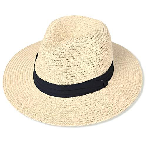 accsa Sombrero de Paja para Mujer Ajustable Sombrero de Panamá para Playa Sombrero Fedora de Verano con ala Ancha Plegable Sombreros para el Sol Anti-UV para Viajes al Jardín