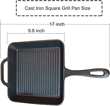 HAWOK Pre-seasoned Cast Iron Square Griddle with Assist Handle 10 inch Black