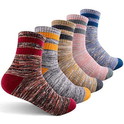 FEIDEER Women's Walking Hiking Socks, Outdoor Recreation Socks Moisture Wicking Cushion Crew Socks Size 4.5-7 (5WS1815-M)