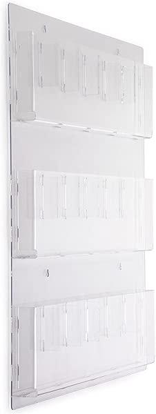 Displays2go 透明丙烯酸悬挂杂志架带可调节口袋 29x35 RP9CLR