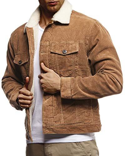Leif Nelson Herren Kordjacke Basic Stretch Jacke mit Reverskragen innen gefüttert Reverskragennjacke Übergangsjacke Freizeitjacke Slim Fit LN9610 Größe XL Camel