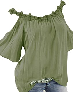 MK988 Womens Summer Plus Size Cold Shoulder Short Sleeve Loose T-Shirt Tee Blouse