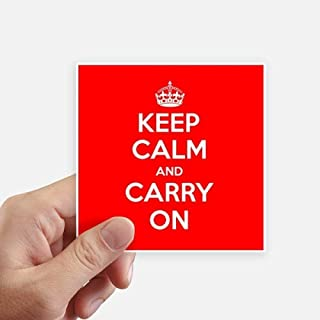 DIYthinker Quote Keep Calm and Carry On Red Square Stickers 10cm Wall Suitcase Laptop Motobike Decal 8pcs 4 inch x 4 inch(10cm x 10cm)