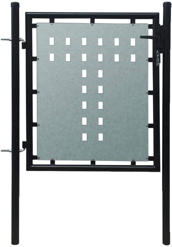 yeacher Single Door Fence Gate Galvanised Steel 3.28ftx2.46ft Bl
