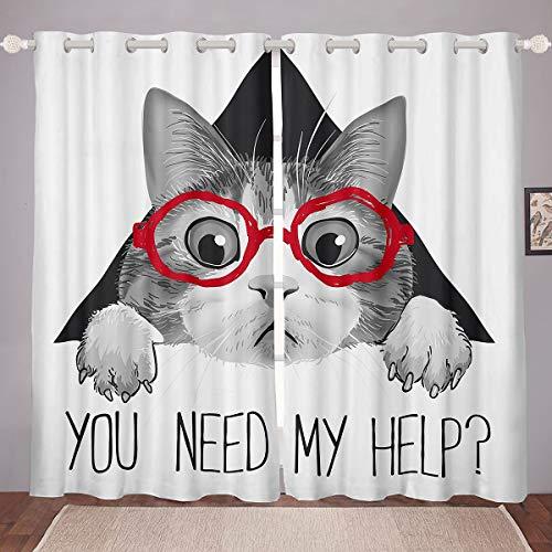 Cortinas de ventana de gatos grises lindo gato con gafas rojas cortinas para niños niñas niños dibujos animados encantadores animales ventana tratamientos negro blanco decoración de habitación W46*L72