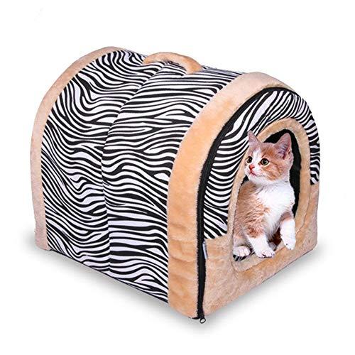 Funihut hondenmand voor honden en katten, 2-in-1, huisdierhuisdieren, uitneembaar kussen voor katten, mand voor huisdieren, stof, 43 × 39 × 37cm