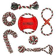 SCIROKKO 7 Pack Christmas Dog Rope Toys Set for Dog Training