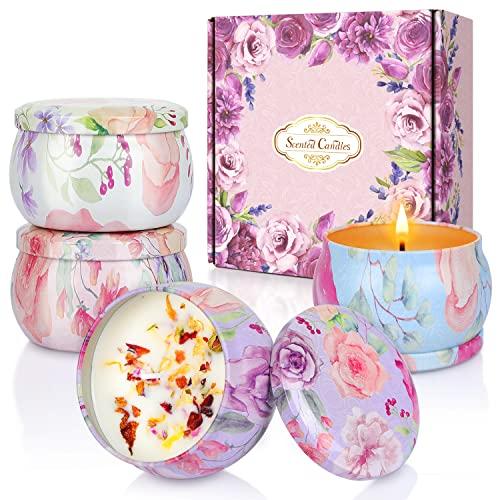 Aukiita Velas Aromaticas, Juego de 4 Velas Perfumadas para Mujer Mamá, Cera de Soja 100% Natural, Regalos para Día de Madre, Cumpleaños, Baño, Yoga, Navidad