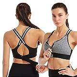 Deportes Sujetador Mujer Sportswear Cultivo Deporte Top Top Ajustable Cinturón Zipper Yoga Running Bras Push Up Chaleco A prueba de choque Ropa interior Gimnasio Bralette ( Color : Gray , Size : 4XL )
