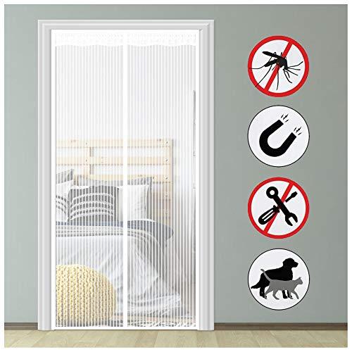 Magnet Fliegengitter Tür, Weiß_225x260cm, Insektenschutz Fliegenvorhang, Auto Schließen Magnetische Fliegeninsektentür, Magnet gittergittervorhang für Balkontür Terrassentür und Wohnzimmer