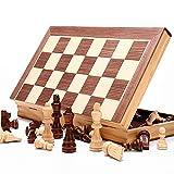 Zengqhui Conjunto de ajedrez clásico Juego de ajedrez de Madera con Tablero de ajedrez magnético portátil Plegable de Atracciones Juego de ajedrez de Juego de Mesa Juego para Adultos y niños