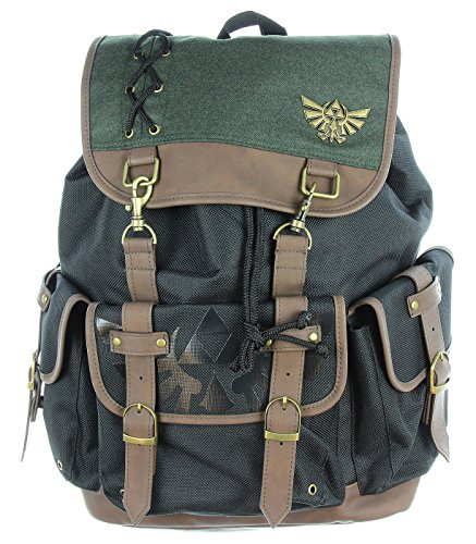 Nintendo Zelda Link Ruck Sack W/Metal Badge and PU Video Game Accessory