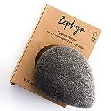 Spugna per il Viso Konjac sponge Zephyr® con Carbone attivo di Bambù - Biodegradabile - Origine Corea del Sud