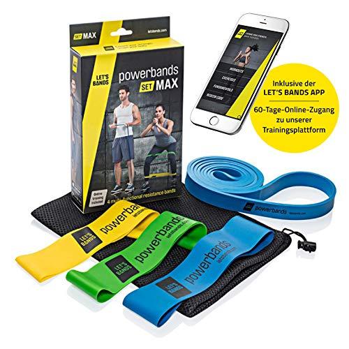 Let's Bands Powerbands Set MAX – Fitnessbänder für effektives Ganzkörpertraining, 60-tägiges gratis Online Training über Lets Bands App
