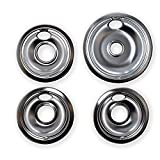KITCHEN BASICS 101 Replacement Chrome Drip Pans for Whirlpool W10196405 and W10196406 - Includes an...