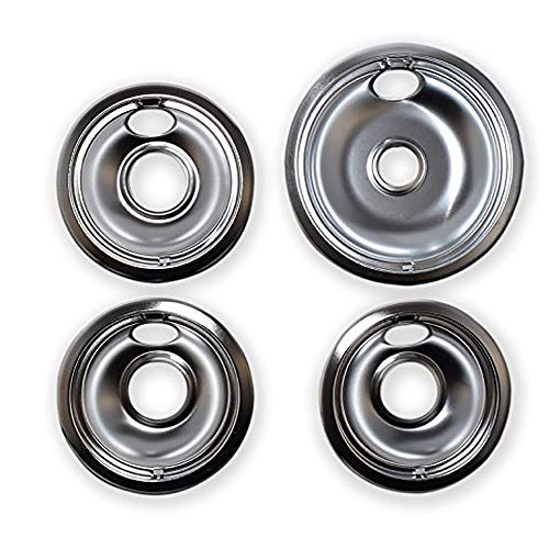 KITCHEN BASICS 101 Replacement Chrome Drip Pans for Whirlpool W10196405 and W10196406 - Includes an 8-Inch and 3 6-Inch Pans, 4 Pack