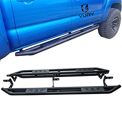 Vijay Dodge Side Pedals Running Board for 2009-2018 Dodge Ram 1500 Crew Cab / 2010-2018 Dodge Ram 2500/3500/4500/5500 Crew Cab Truck Pickup Texture Black Side Steps