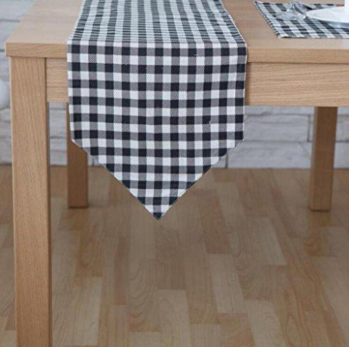 BiuTeFang Tafelloper Tafellopers Tafelvlag, modern, eenvoudig, salontafel, doek, zwart-wit, linnen, tafelvlag Banket Party Decoratie 30X180CM