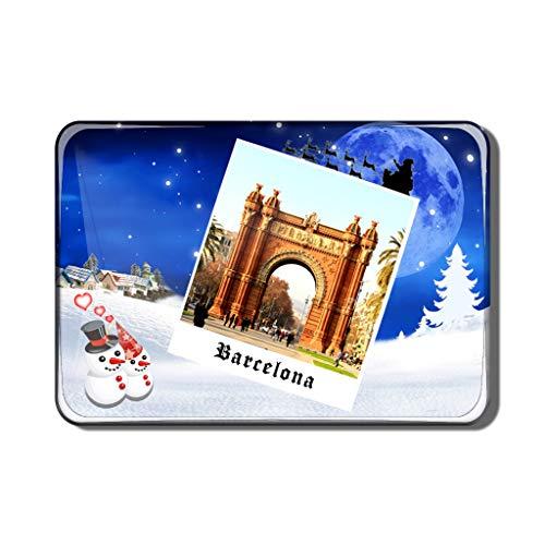 Hqiyaols Souvenir España Arco del Triunfo Barcelona Imán de Nevera Recuerdo Navidad San Valentin Regalo Cristal Refrigerador Imán Viajes Coleccionables