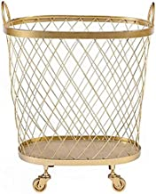 Laundry basket wrought iron storage basket with rollers for home textiles toys Storage Consolidation,Gold