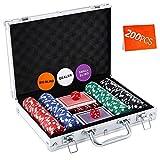 Homwom Casino Poker Chip Set - 200PCS Poker Chips with Aluminum Case, 11.5 Gram Chips for Texas Holdem Blackjack Gambling