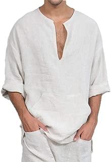 Da Uomo in Cotone Ricamato Kaftan Caftano Camicia Casual Maglia Boho Hippy