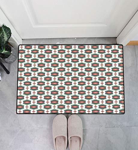 Exotic Entry Way Doormat, Aztec Style Vintage Artful Motif Entrance Door Mat Floor Cover Easy Clean, 31' x 47' Dark Coral Reseda and Hunter Green