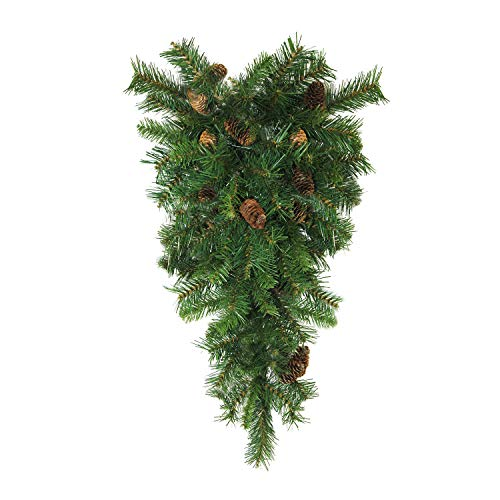 "Northlight 42"" Dakota Red Pine Artificial Christmas Teardrop Swag with Pine Cones - Unlit"