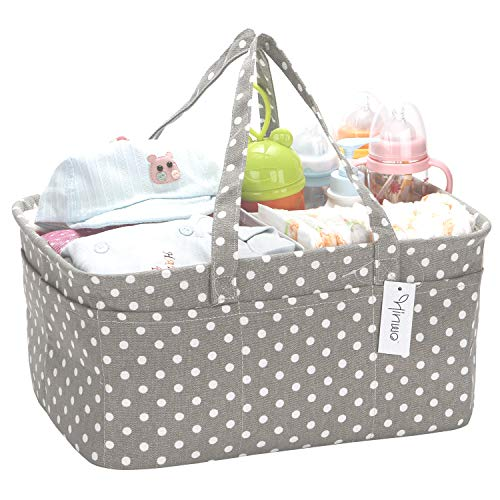 Hinwo Baby Diaper Caddy 3-Compartment Infant Nursery Tote Storage Bin Portable Car Organizer Newborn Shower Gift Basket with Detachable Divider and 10 Invisible Pockets for Diapers & Wipes (Grey Dot)