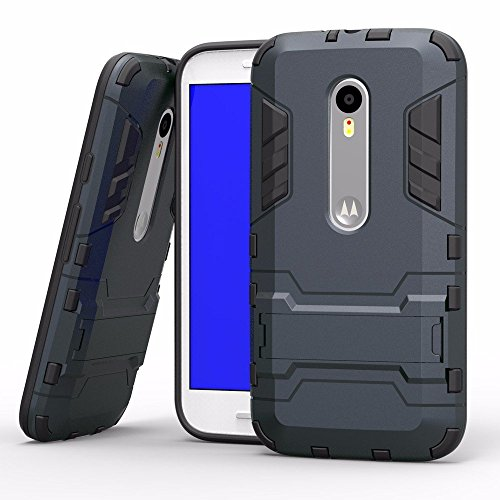 TARKAN Heavy Duty Shockproof Armor Series Kickstand Protective Back Case Cover for Motorola G4 Plus (Gen 4) / 4th Generation [Black]