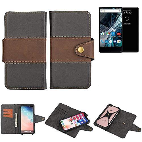 K-S-Trade® Handy-Hülle Schutz-Hülle Bookstyle Wallet-Case Für -Archos Sense 55 S- Bumper R&umschutz Schwarz-braun 1x