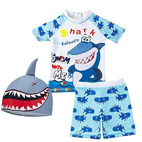 NIDONE Muchachos Traje de baño para niños con Pantalones Impreso Tiburón Traje de baño de Split Manga Corta de baño con Cap 3pcs Azul L