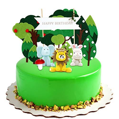 KiraKira Kuchendekoration Wald,kuchendeko Geburtstag, tortendekoration Taufe, torten deko, Kindergeburtstag deko mädchen /Junge, Geburtstag Dekorationen Pack für Kinder (Set von 14)