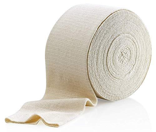 """Vendaje elástico de soporte, talla F, caja de 10 m - Color natural (4 """"x 33 pies) Vendaje grande para apoyo de rodillas y muslos de mediano a grande, algodón spandex"""