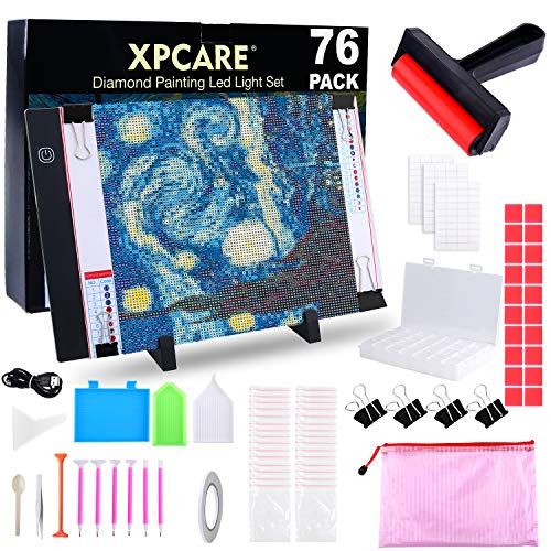 XPCARE 76 Pack Diamond Painting A4 LED Light Pad Tools with USB Powered Light Board Kit Multifunction Brightness with Portable Stand and Bag