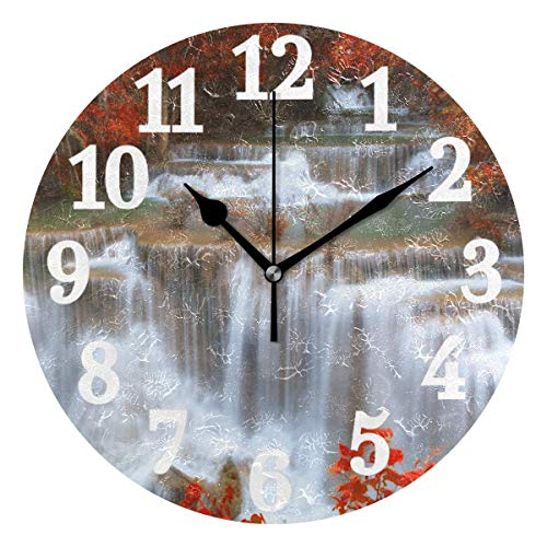 Autumn Forest Waterfall Number Round Wall Clock Battery Operated Silent Non Ticking Modern...